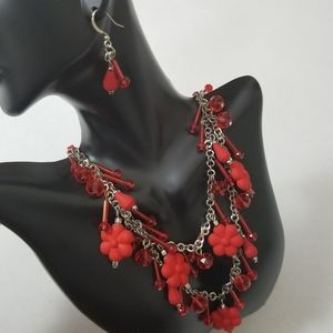 Tanya Creations Necklace Earrings Set Floral Bead